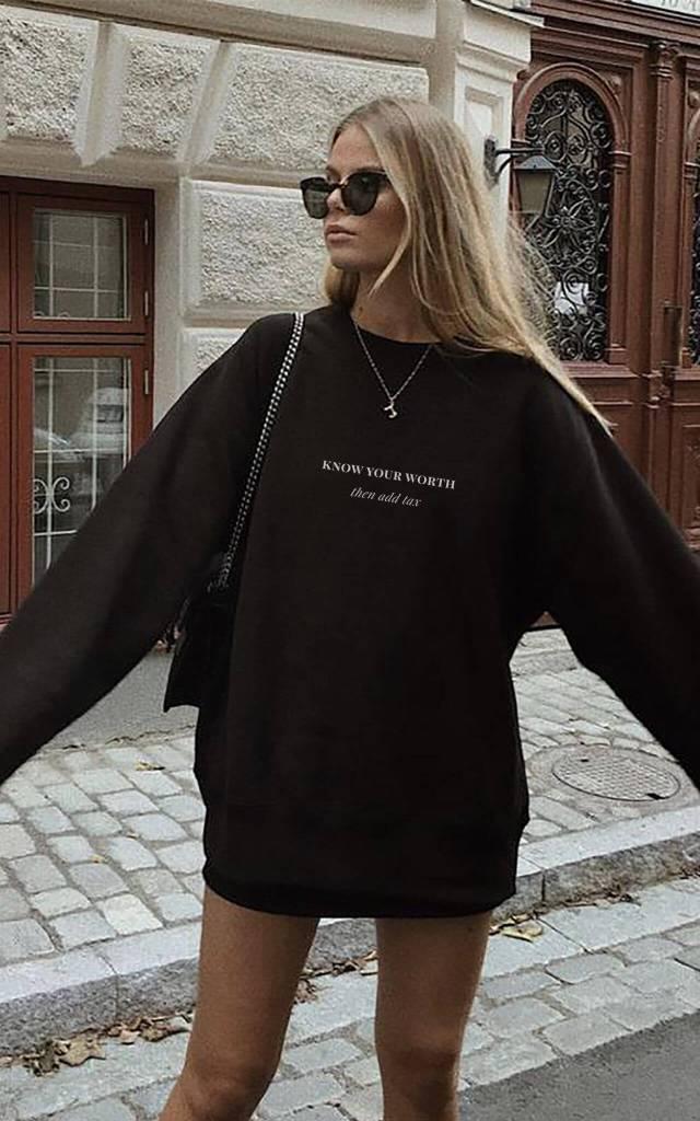 Black Sweatshirt with Know Your Worth Slogan