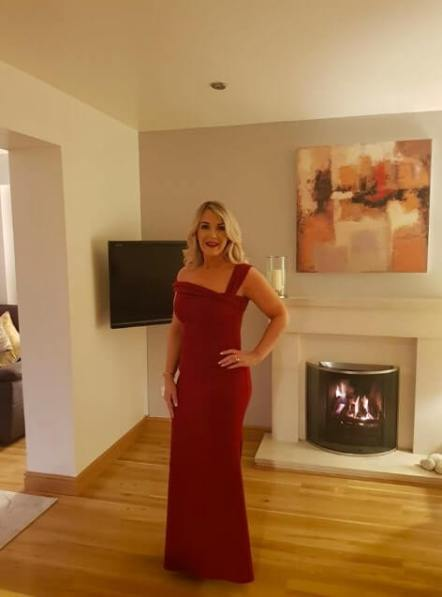 Christine wears Off The Shoulder Maxi Dress In Wine Red