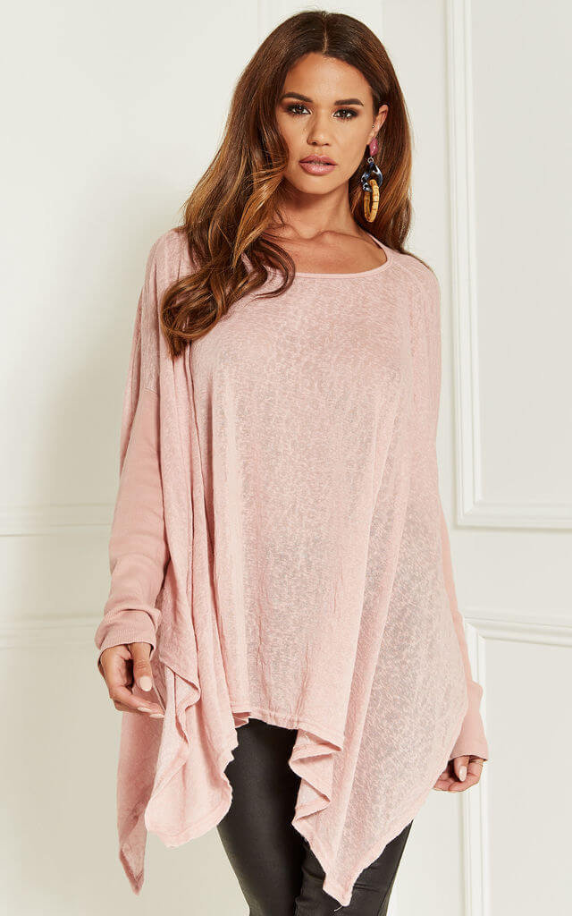 Oversized Batwing Top in Dusty Pink