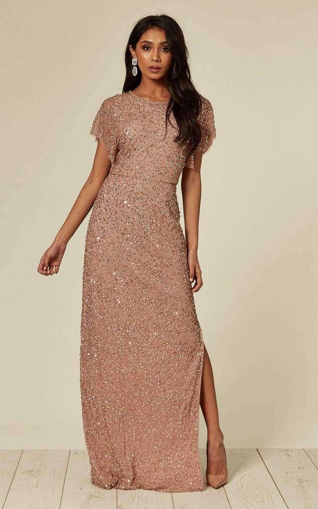 Embellished Nude Pink Maxi Dress