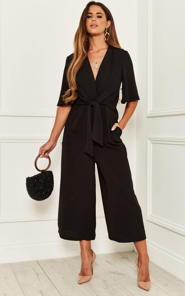 Kimono Knot Culotte Jumpsuit in Black