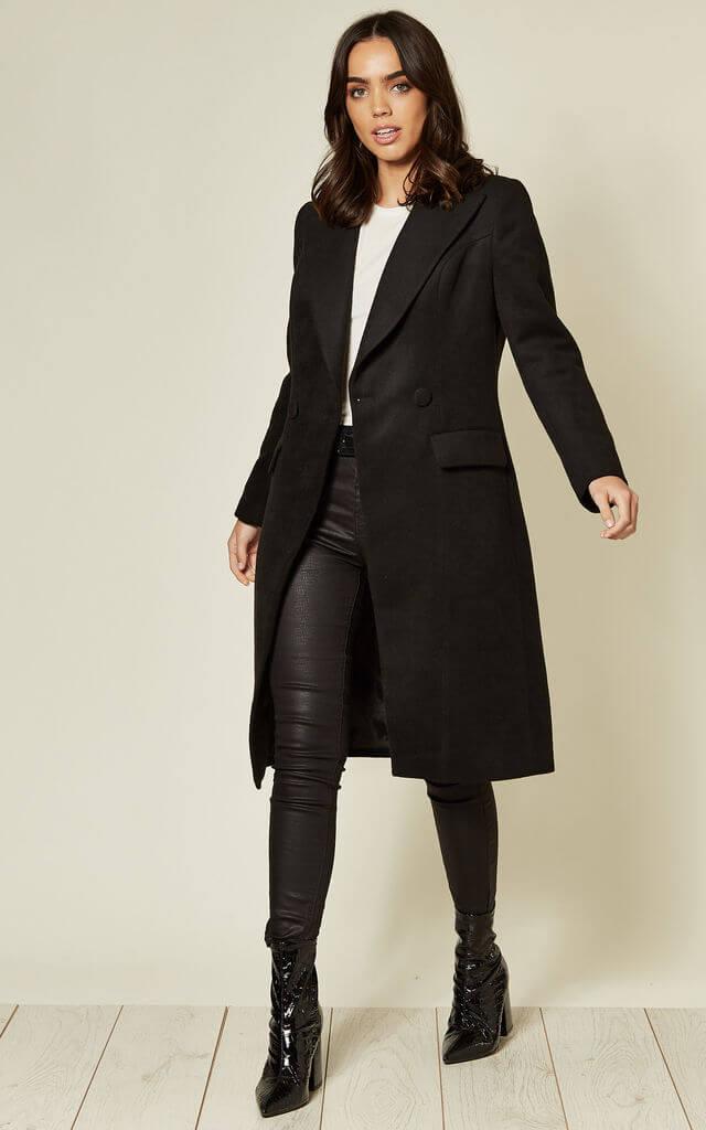 Long A-Line Coat in Black