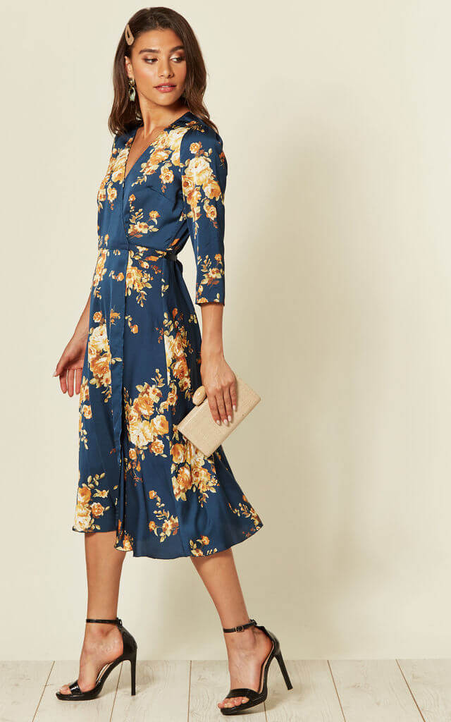 Navy Floral Mother Of The Groom Dress On SilkFred