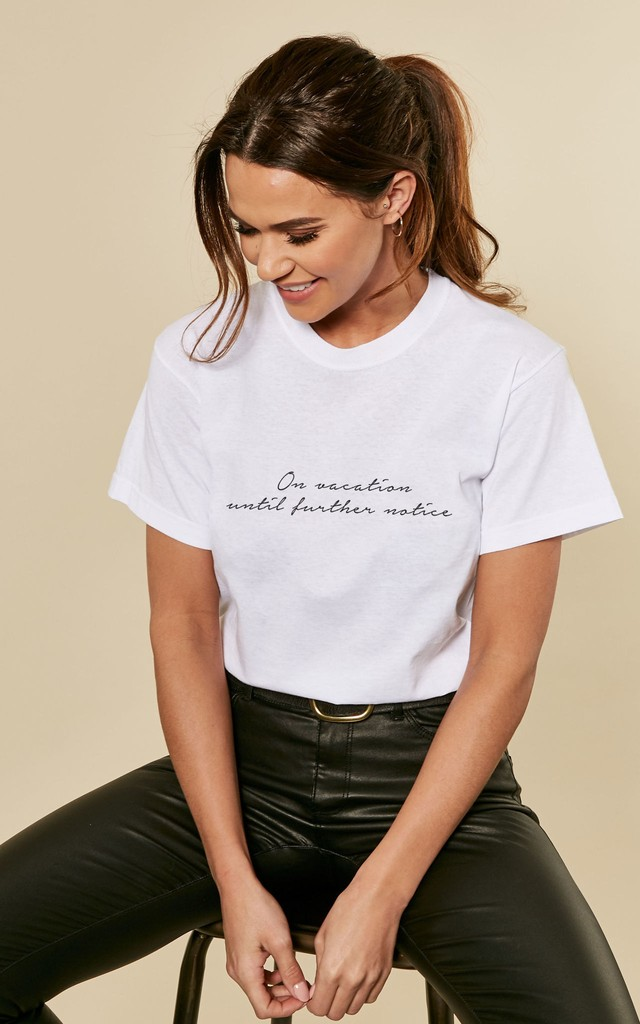Social Distancing On Vacation Slogan Tshirt in White