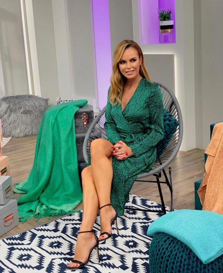 Amanda Holden in the Yondal Dress In Small Green Leopard Print By Dancing Leopard