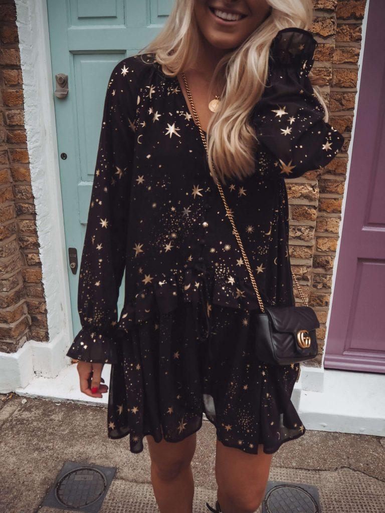 black mini dress with gold star print