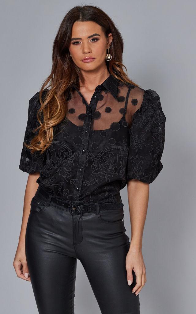 Macie Puff Sleeve Mesh Shirt In Black Polka Dot by Blue Vanilla | £22