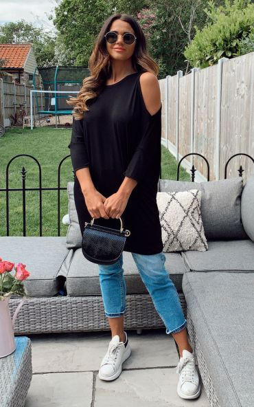 oversized-tops-black-cold-shoulder-jersey-batwing-top