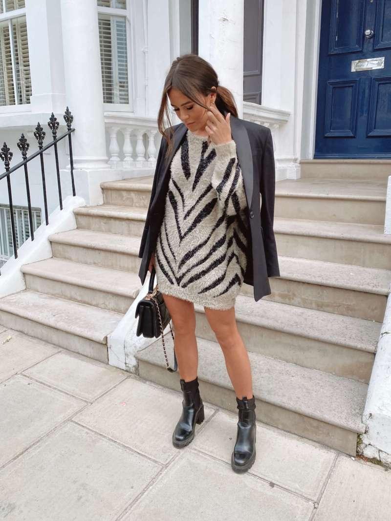 gracie-fluffy-jacquard-jumper-dress-stone-slash-black _girl-in-mind