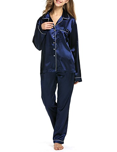 b2652c3e74 Ekouaer Women s Satin Sleepwear Two-piece Long Sleeve Pajama Set with Long  Pjs Pants