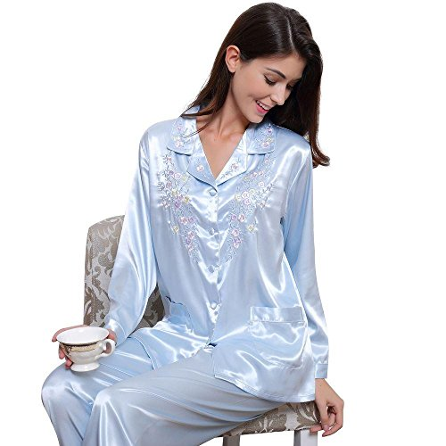 Womens Silk Satin Pajamas Set Sleepwear Loungewear XS~3XL  Plus  Gifts  7-12days to USA 9a136e4ad