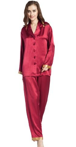 LILYSILK Women s Long Silk Pajamas Set Gold Cuff 22 Momme Pure Silk 241d4779b