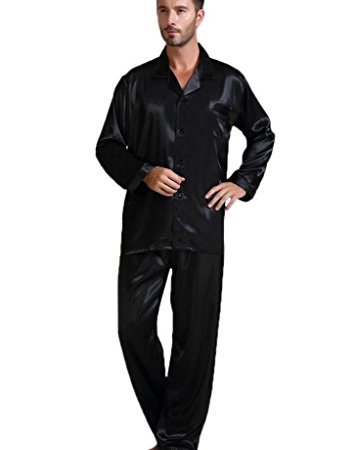 Mens Silk Satin Pajamas Set Sleepwear Loungewear S~4XL Plus  5bca2b971