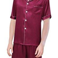 99429bcc87 Yanqinger Mens Luxury Polyester Pajamas Short Button-Down Breathable Silk  Sleepwear PJ Set · SexyTown Women s ...