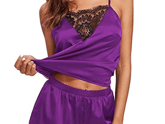 Mari Cias Women s Silky Lace Pajamas Sleepwear Lingerie Camisole Shorts Set db6cc8bf4