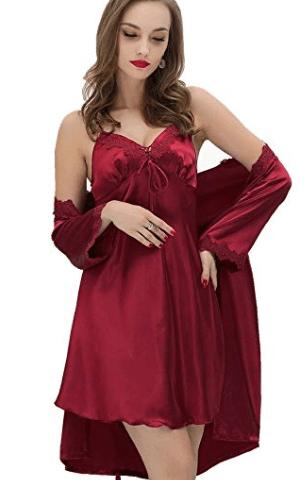 SUNBABY Women Sexy Silk Satin Robe Camisole Pajama Dress Two Piece Suit  Sleepwear e935483c4