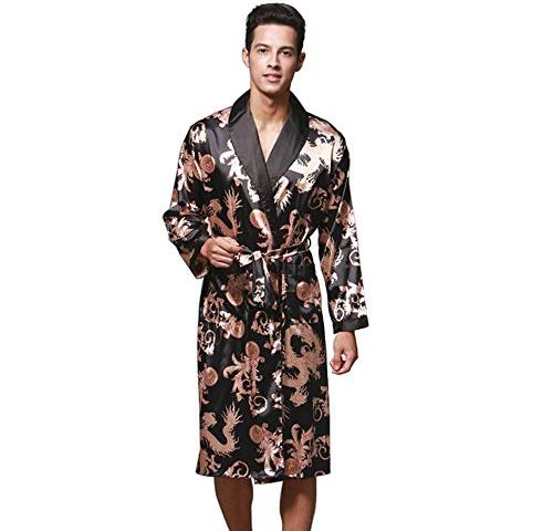 b5cd1d9023 Daiwenwo Men Robe Gown Sleepwear Plus Size Luxurious Summer Autumn Bath  Robe Nightwear Male Pajamas WP032