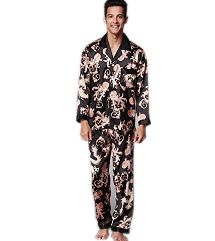 7d4f9ea47e VERNASSA Men s Long Sleeves Sleepwear Silk Satin Pajama Set Pajama Shirt  and Pant Satin