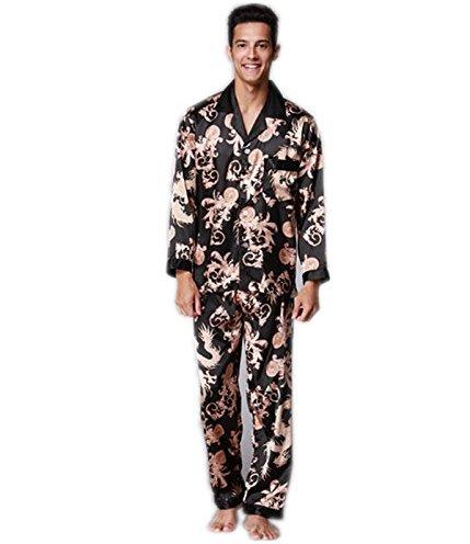 VERNASSA Men s Long Sleeves Sleepwear Silk Satin Pajama Set Pajama Shirt  and Pant Satin b7a0f032d