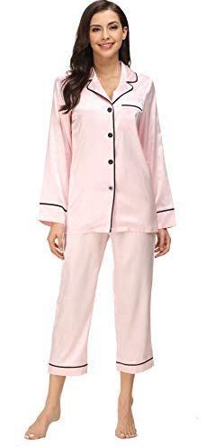 176381d062fa Kiddom Womens Classic Silk Satin Sleepwear Girls Pajamas Set Ladies  Loungewear Collar Pockets Long Sleeve