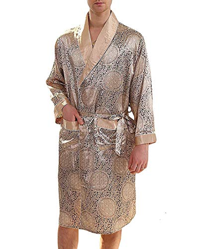 Haseil Men/'s Satin Robe Dragon Luxurious Silk Spa Long Sleeve House Kimono