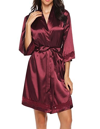 Milumia Women Plus Size Kimono Robes Belted Solid Floral Print 3//4 Sleeve Wrap Casual Satin Robe