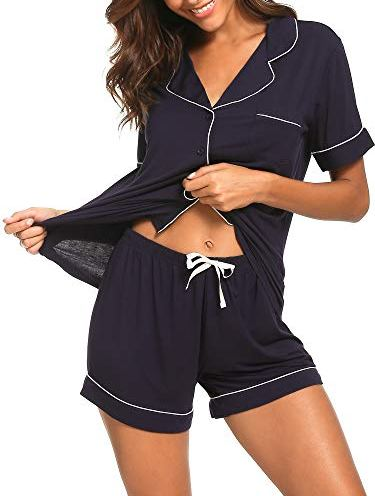FEOYA Women Silk Cami Sleepwear 2 Piece Summer Spaghetti Strap Loungewear Loose Casual Sleepshirt /& Shorts Pjs