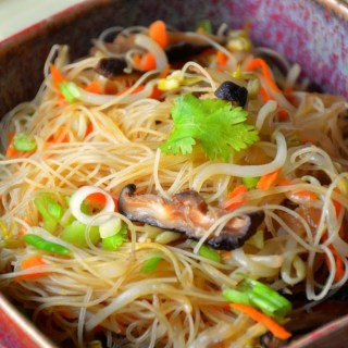 Asian Rice Noodles with Bean Sprouts and Shiitake Mushrooms