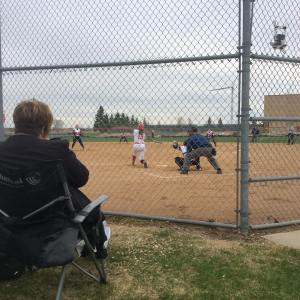 Just some willmarsoftball with heidihosellmann up to bat gocards lovemykidshellip