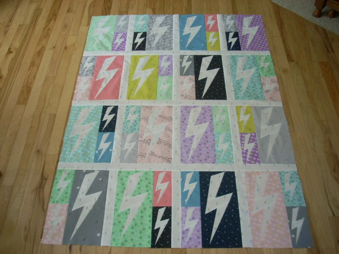 lightning crashes quilt top