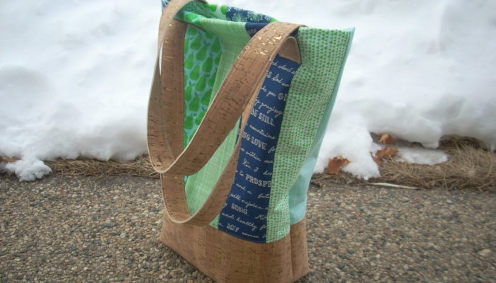 handpicked blue and green cork bag