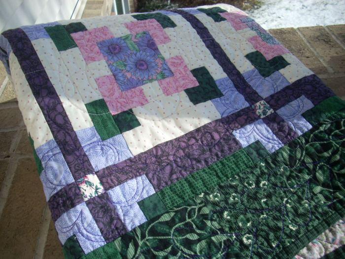 lavender pink floral quilt