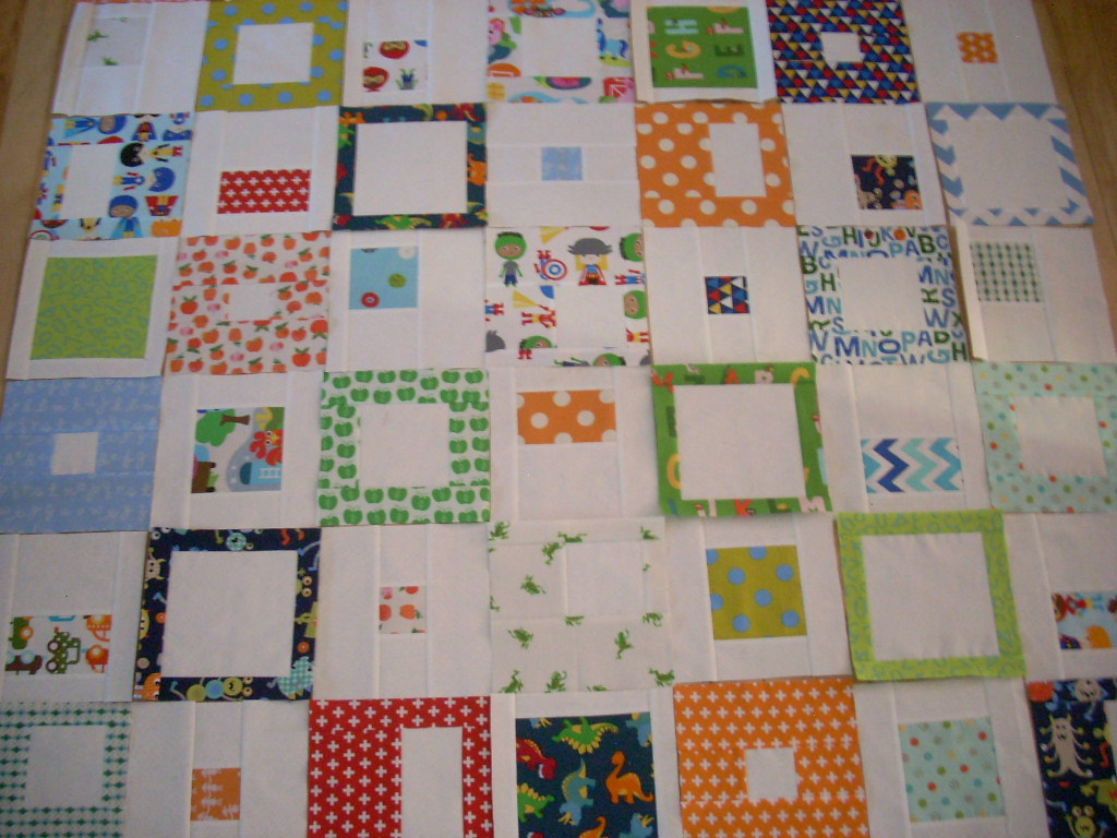 bright blocks into quilt top