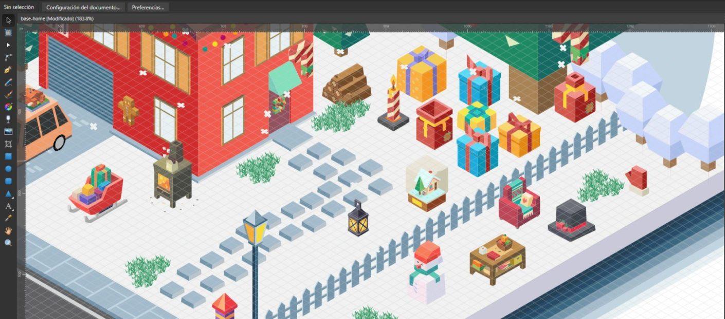 Workspace with grid in Designer