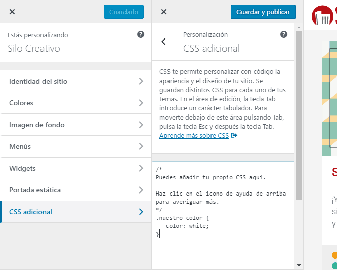 Modificar CSS desde Apariencia de WordPress