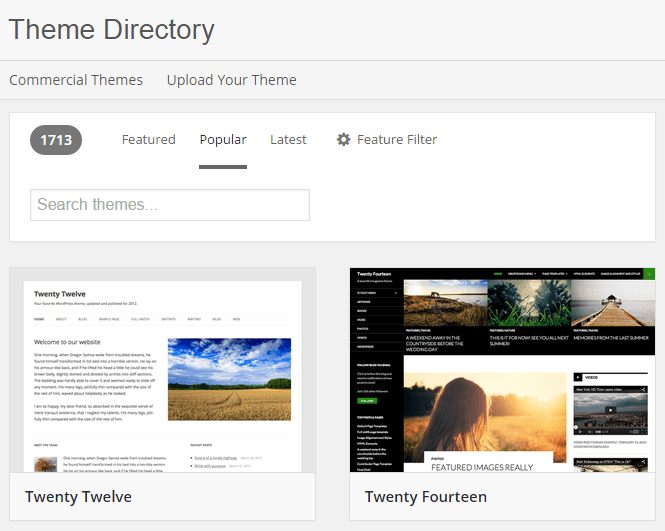 Directorio de Temas para WordPress.org