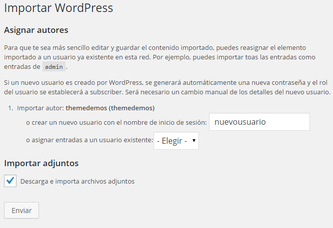Importar imágenes a WordPress