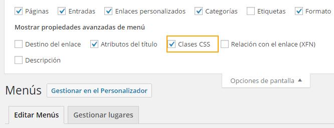 activar clases css en menu WordPress