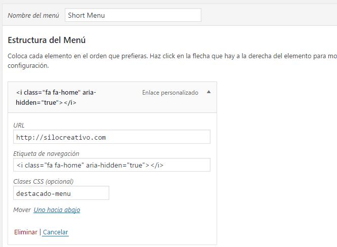 Clase CSS al menu WordPress