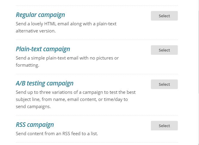 Tipos de campaña en Mailchimp