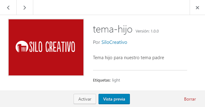 Activar tema hijo en WordPress
