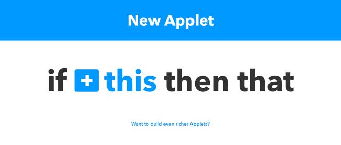 Creando una nueva Applet en IFTTT