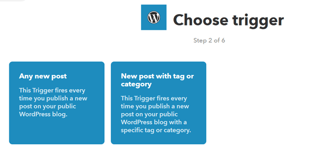 Eligiendo un desencadenante de WordPress en IFTTT