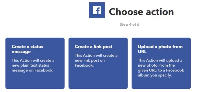Eligiendo una reacción en Facebook en IFTTT