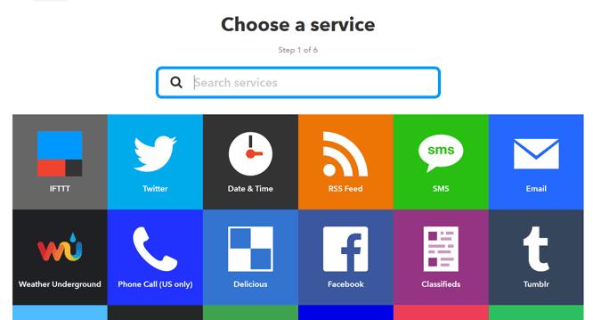 Servicios disponibles en IFTTT