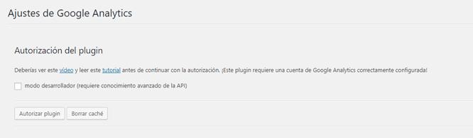 Ajustes del plugin Google Analytics for Dashboard en WordPress