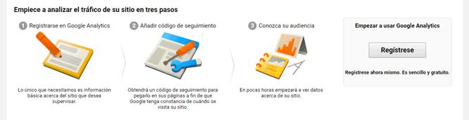 Pantalla de registro en Google Analytics
