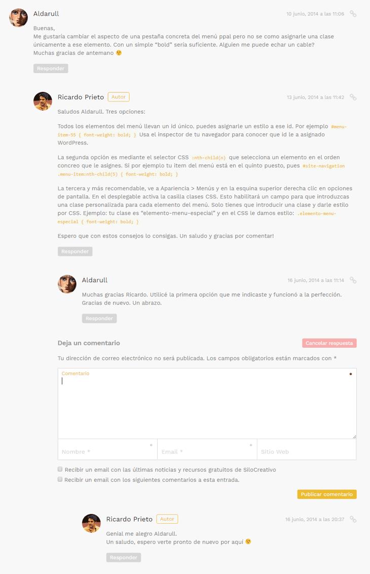 Comentarios Anidados en WordPress