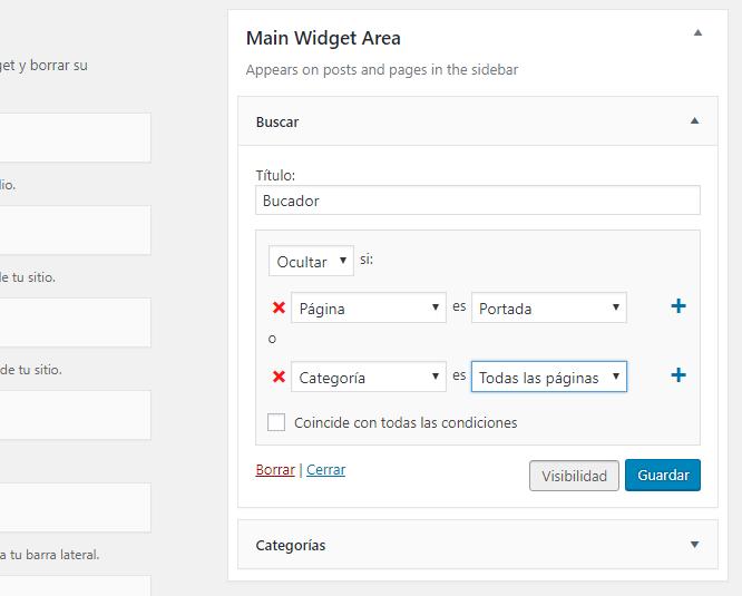 Ocultar Widgets de página de Inicio WordPress