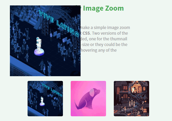Exemple pratique de trois images agrandies avec CSS